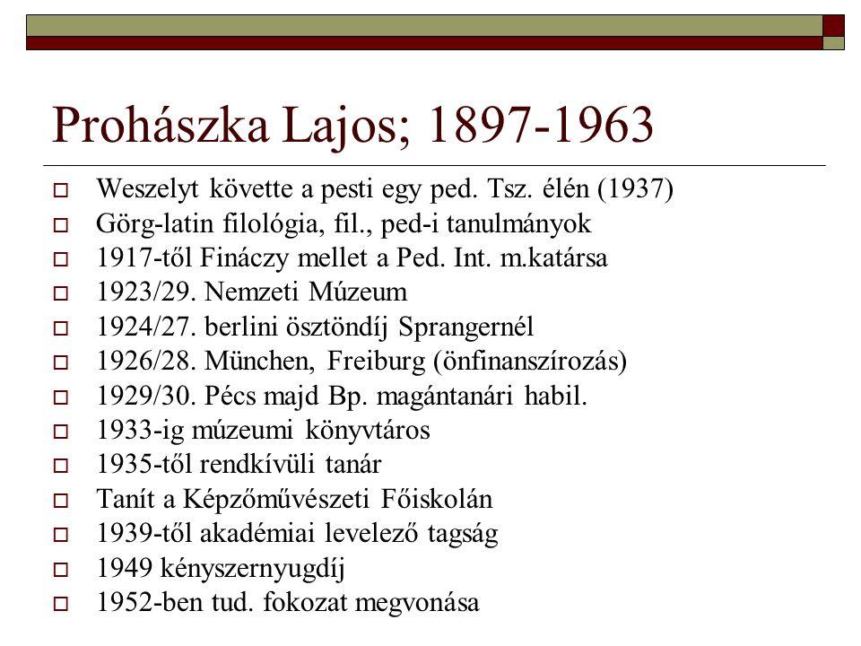 Prohászka Lajos; 1897-1963 Weszelyt követte a pesti egy ped. Tsz. élén (1937) Görg-latin filológia, fil., ped-i tanulmányok.