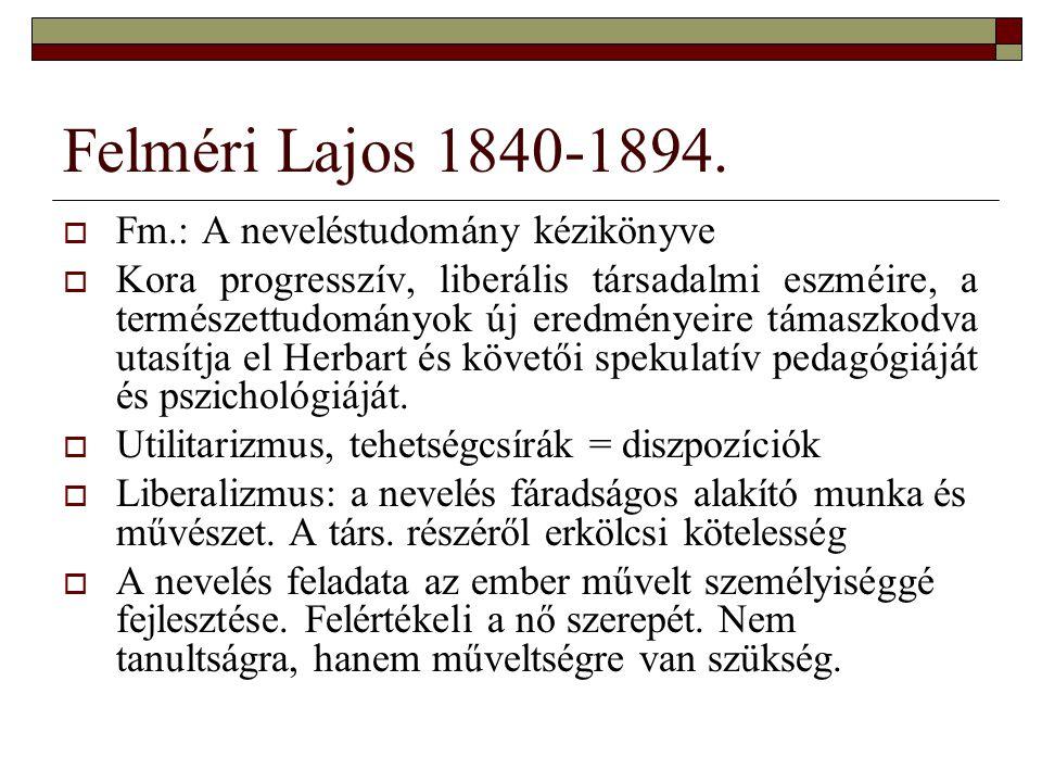 Felméri Lajos 1840-1894. Fm.: A neveléstudomány kézikönyve