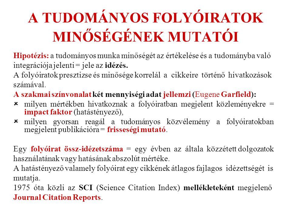 A TUDOMÁNYOS FOLYÓIRATOK MINŐSÉGÉNEK MUTATÓI