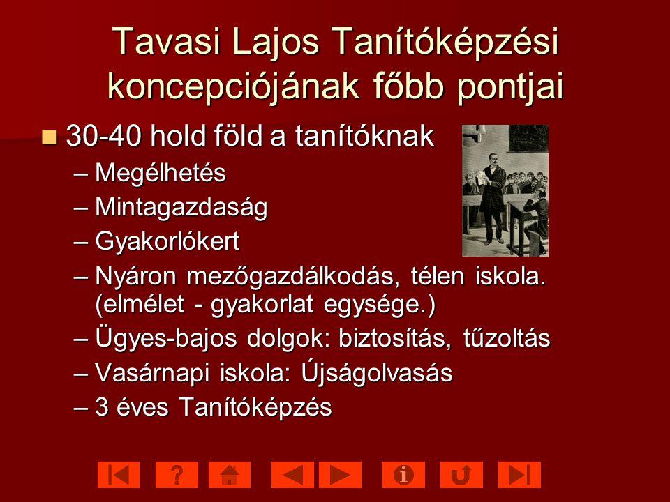 Tavasi Lajos Tanítóképzési koncepciójának főbb pontjai
