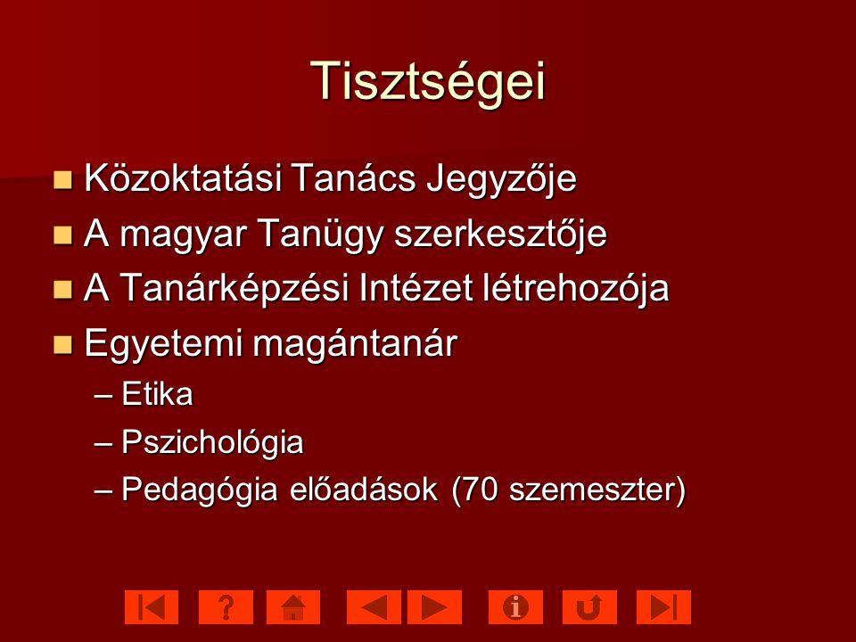 Tisztségei Közoktatási Tanács Jegyzője A magyar Tanügy szerkesztője