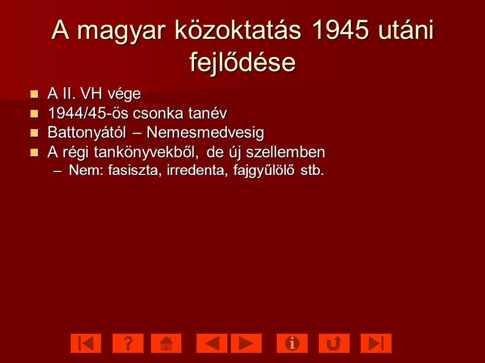 A magyar közoktatás 1945 utáni fejlődése