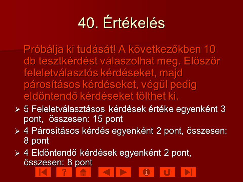 40. Értékelés