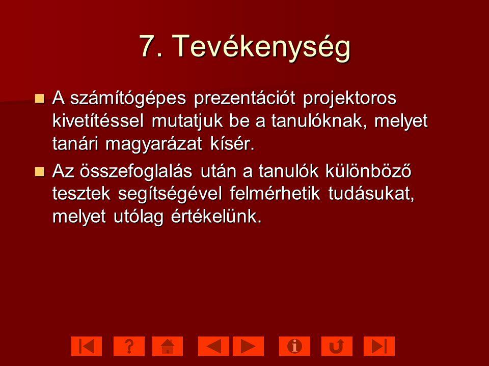 7. Tevékenység A számítógépes prezentációt projektoros kivetítéssel mutatjuk be a tanulóknak, melyet tanári magyarázat kísér.