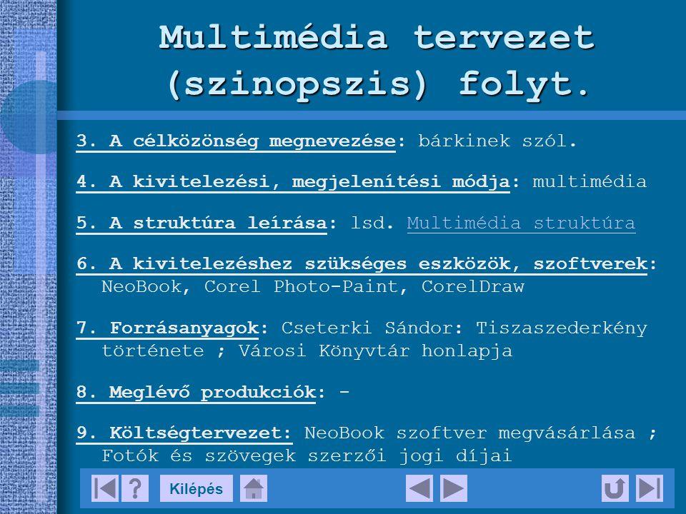 Multimédia tervezet (szinopszis) folyt.