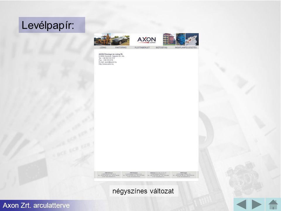 Levélpapír: négyszínes változat Axon Zrt. arculatterve