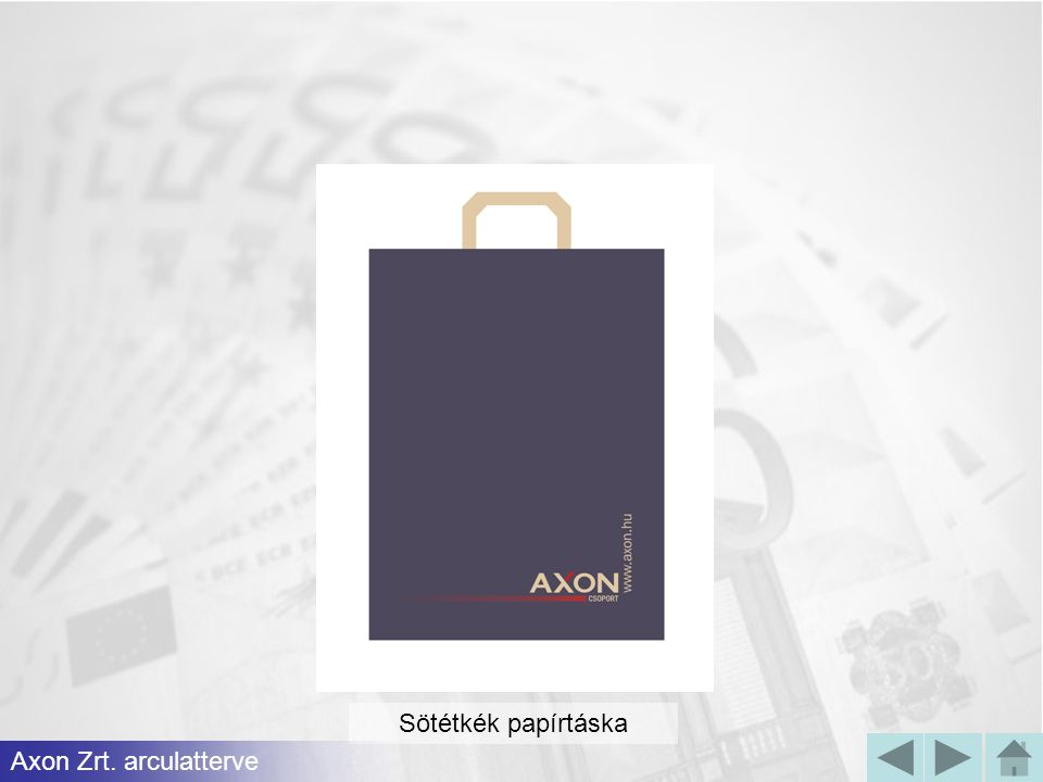 Sötétkék papírtáska Axon Zrt. arculatterve