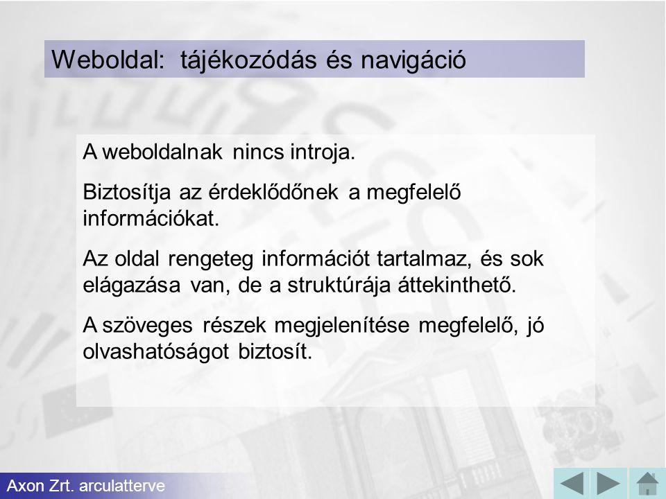 Weboldal: tájékozódás és navigáció