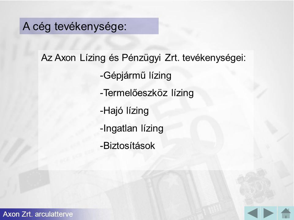 A cég tevékenysége: Az Axon Lízing és Pénzügyi Zrt. tevékenységei:
