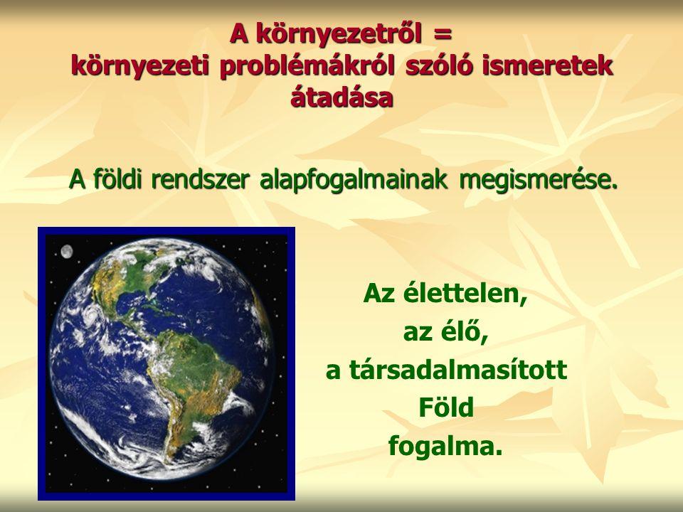 A környezetről = környezeti problémákról szóló ismeretek átadása