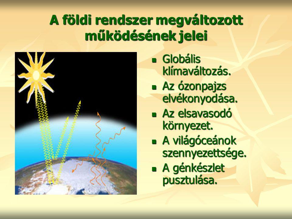 A földi rendszer megváltozott működésének jelei
