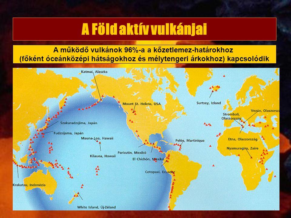 A Föld aktív vulkánjai A működő vulkánok 96%-a a kőzetlemez-határokhoz