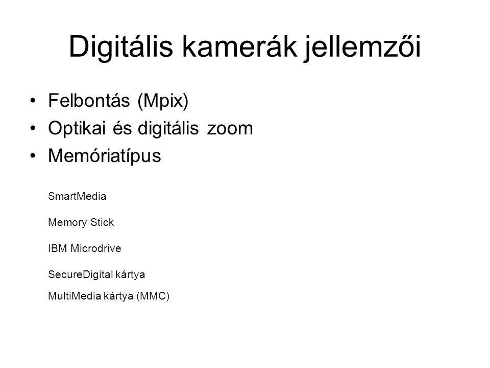 Digitális kamerák jellemzői