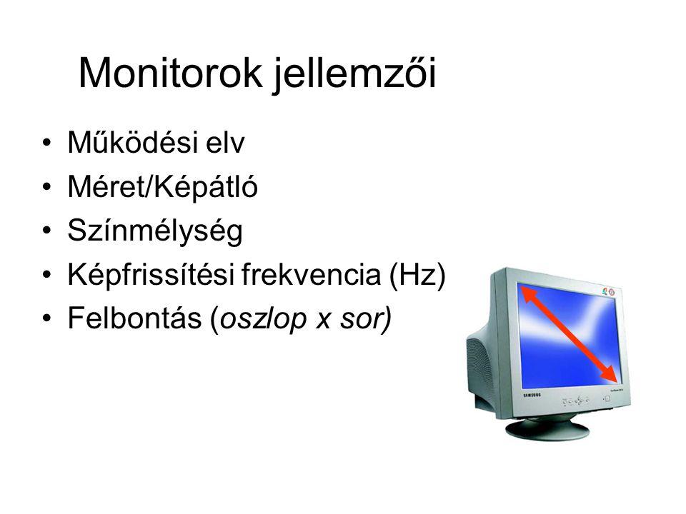 Monitorok jellemzői Működési elv Méret/Képátló Színmélység