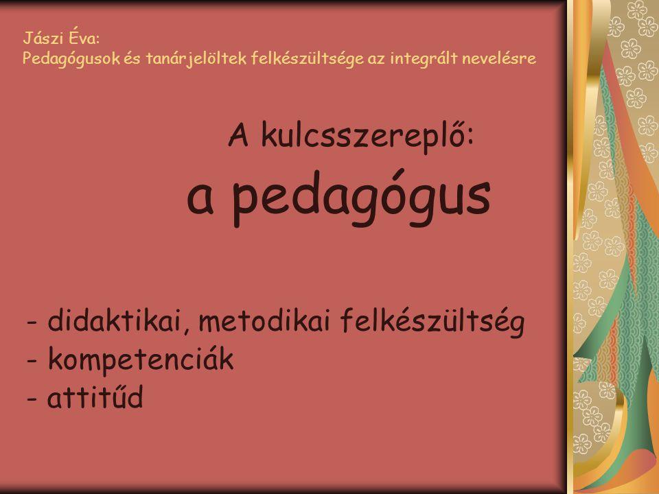 A kulcsszereplő: a pedagógus - didaktikai, metodikai felkészültség