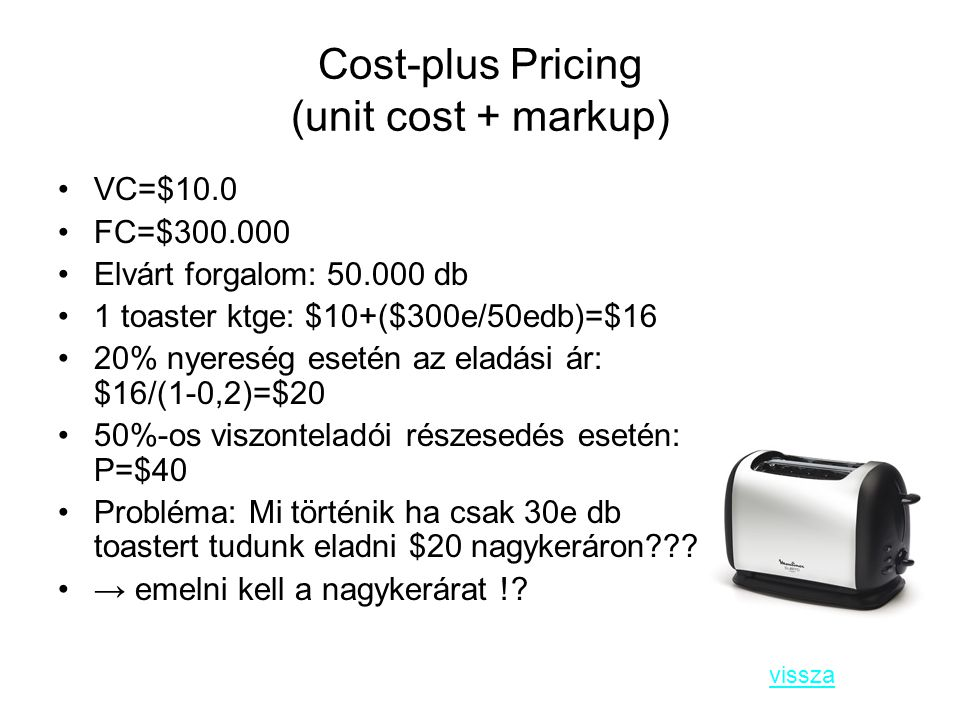 Cost-plus Pricing (unit cost + markup)