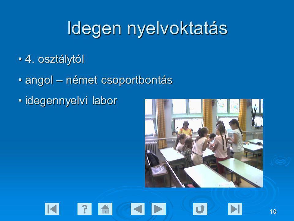 Idegen nyelvoktatás 4. osztálytól angol – német csoportbontás