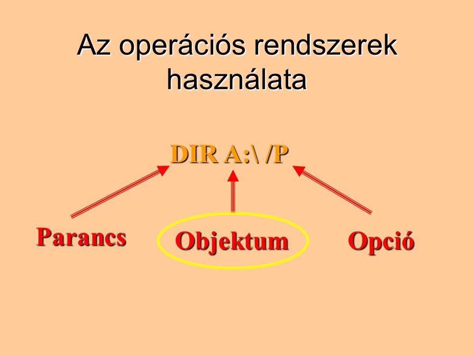 Az operációs rendszerek használata