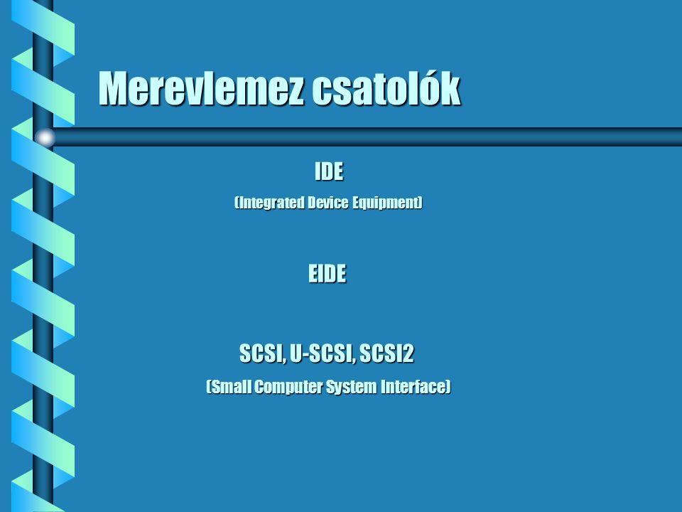 Merevlemez csatolók IDE EIDE SCSI, U-SCSI, SCSI2