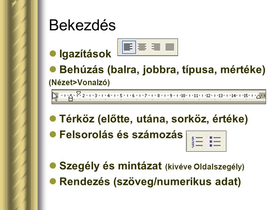 Bekezdés Igazítások Behúzás (balra, jobbra, típusa, mértéke)