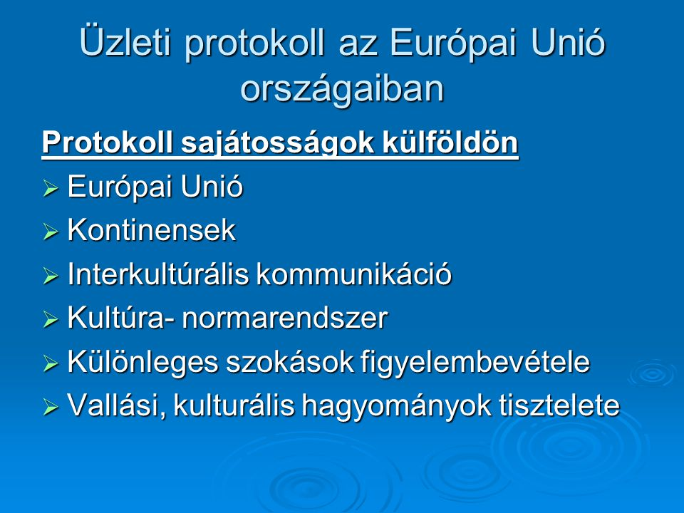 Üzleti protokoll az Európai Unió országaiban
