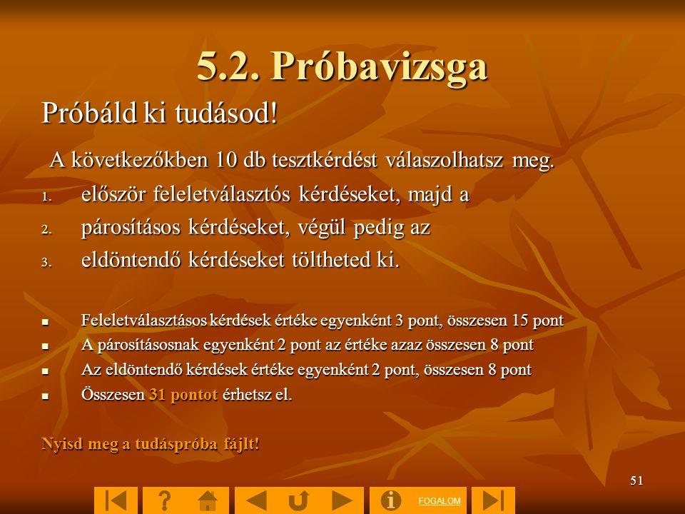 5.2. Próbavizsga Próbáld ki tudásod!