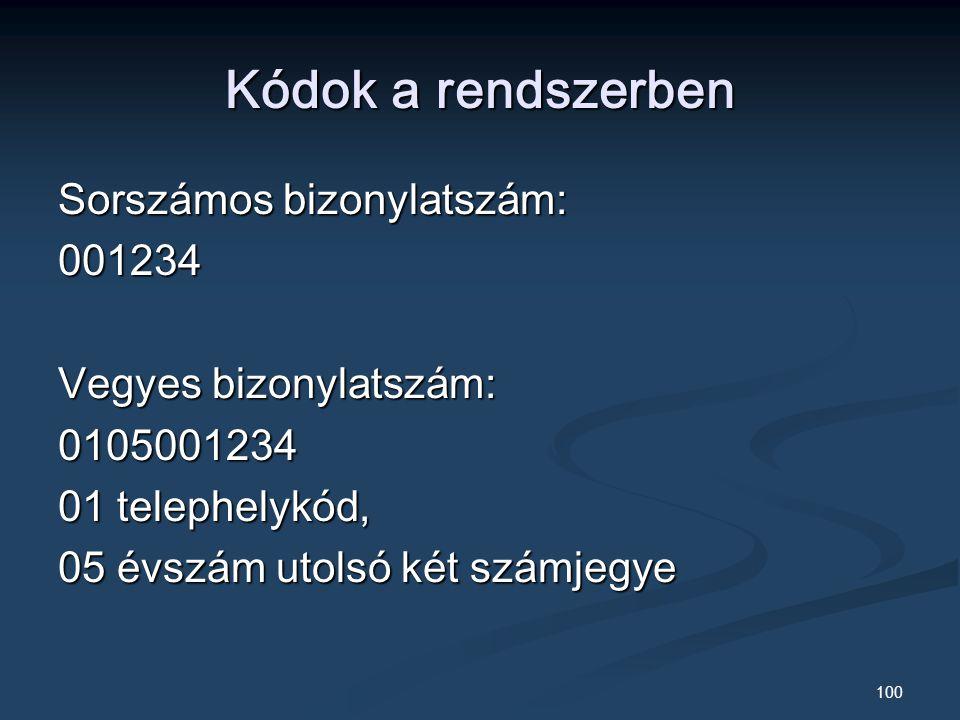 Kódok a rendszerben Sorszámos bizonylatszám: 001234