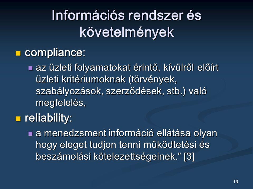 Információs rendszer és követelmények