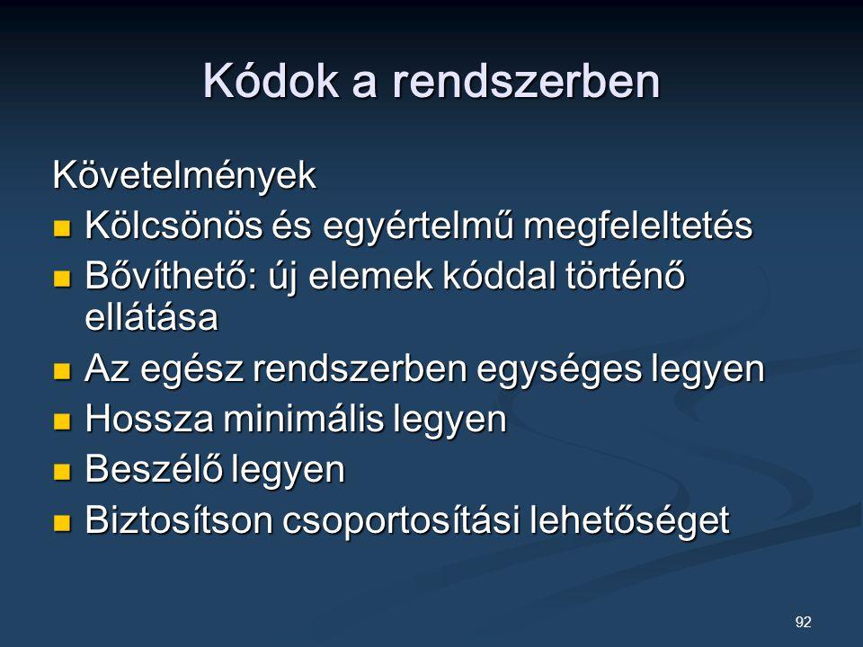 Kódok a rendszerben Követelmények