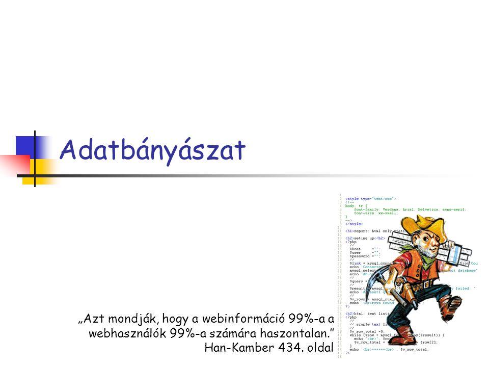 """Adatbányászat """"Azt mondják, hogy a webinformáció 99%-a a webhasználók 99%-a számára haszontalan.″ Han-Kamber 434."""