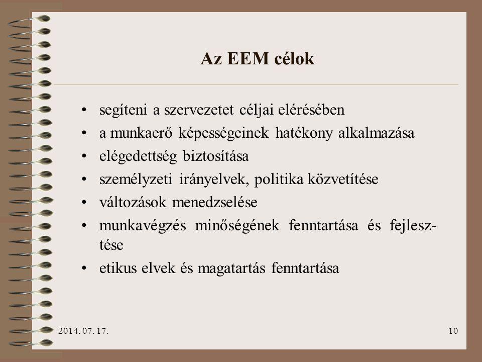 Az EEM célok segíteni a szervezetet céljai elérésében