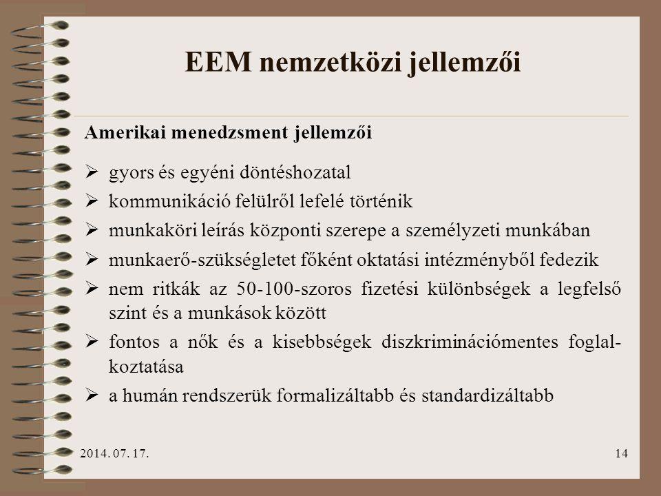 EEM nemzetközi jellemzői
