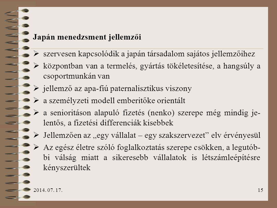 Japán menedzsment jellemzői