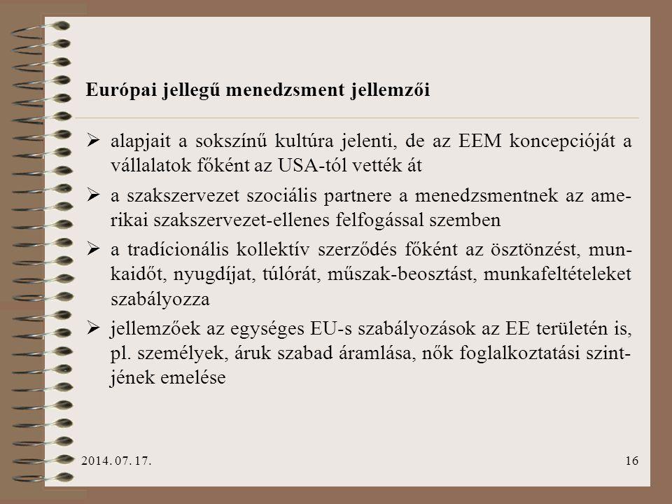 Európai jellegű menedzsment jellemzői