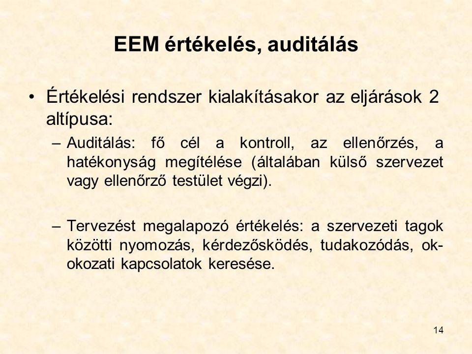 EEM értékelés, auditálás