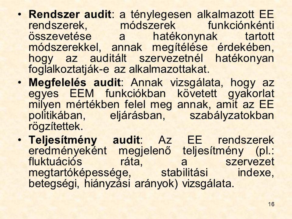 Rendszer audit: a ténylegesen alkalmazott EE rendszerek, módszerek funkciónkénti összevetése a hatékonynak tartott módszerekkel, annak megítélése érdekében, hogy az auditált szervezetnél hatékonyan foglalkoztatják-e az alkalmazottakat.