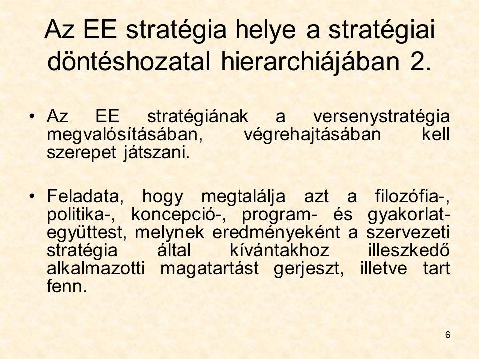 Az EE stratégia helye a stratégiai döntéshozatal hierarchiájában 2.