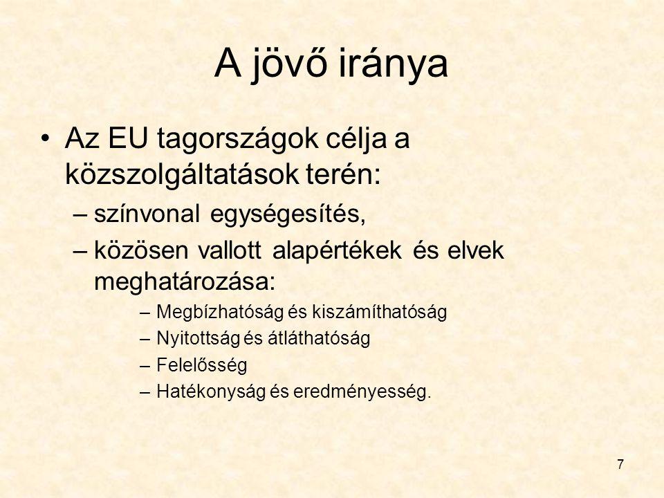 A jövő iránya Az EU tagországok célja a közszolgáltatások terén: