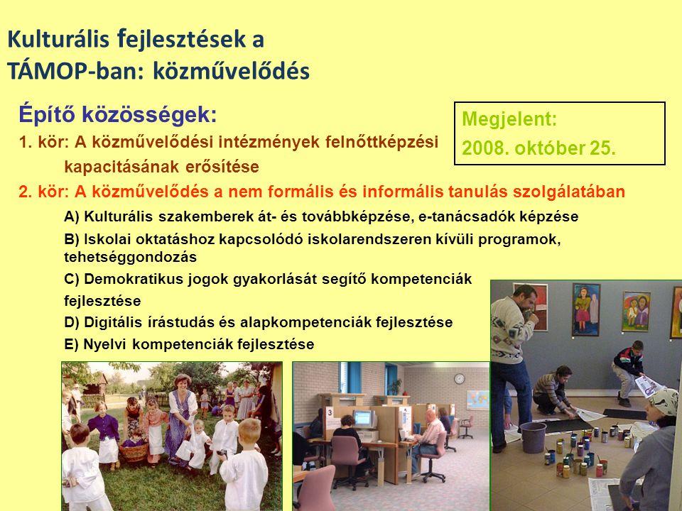 Kulturális fejlesztések a TÁMOP-ban: közművelődés