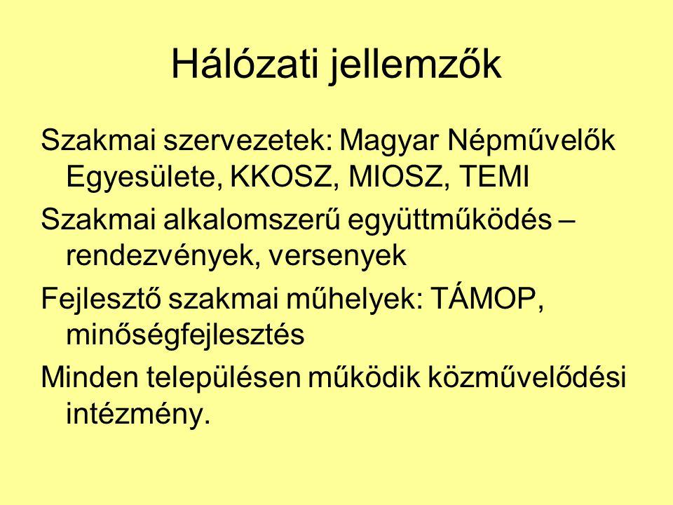 Hálózati jellemzők Szakmai szervezetek: Magyar Népművelők Egyesülete, KKOSZ, MIOSZ, TEMI.