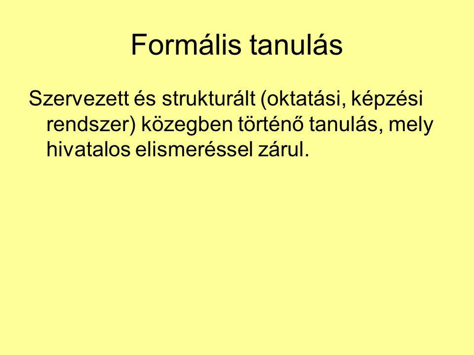 Formális tanulás Szervezett és strukturált (oktatási, képzési rendszer) közegben történő tanulás, mely hivatalos elismeréssel zárul.