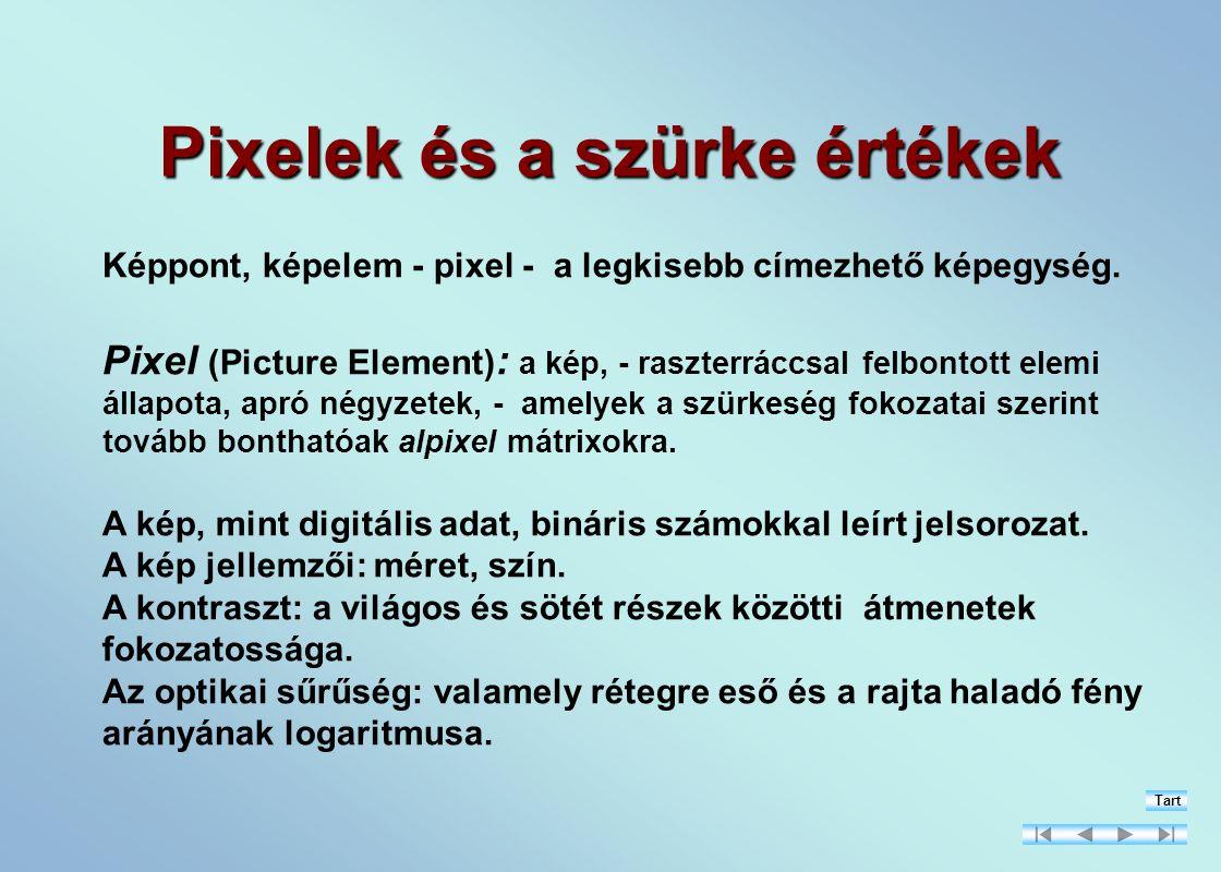 Pixelek és a szürke értékek