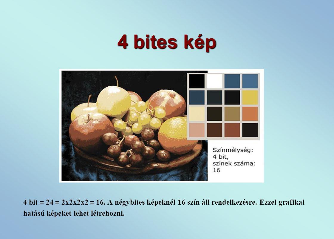 4 bites kép 4 bit = 24 = 2x2x2x2 = 16. A négybites képeknél 16 szín áll rendelkezésre.