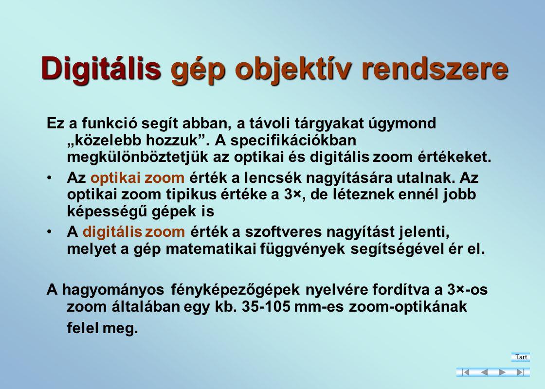 Digitális gép objektív rendszere