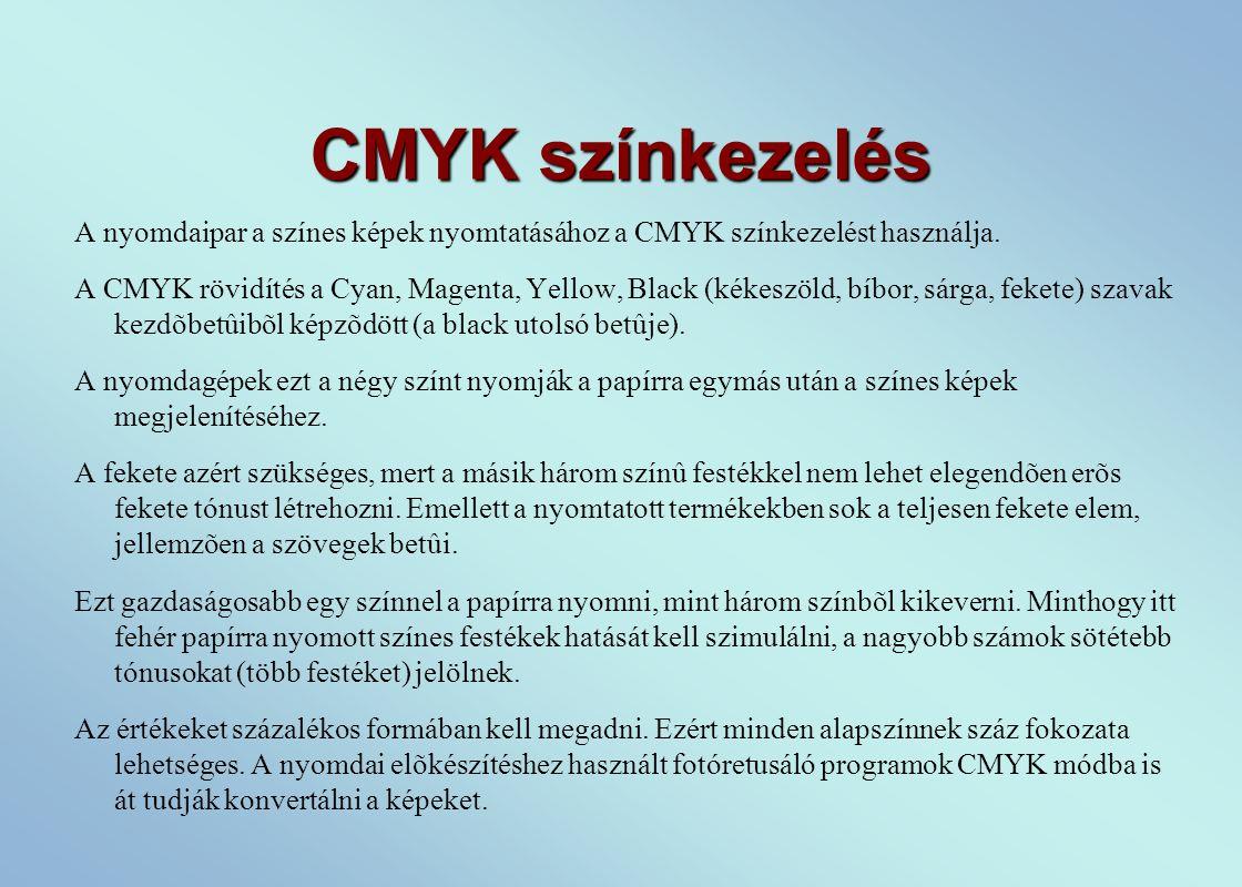 CMYK színkezelés A nyomdaipar a színes képek nyomtatásához a CMYK színkezelést használja.