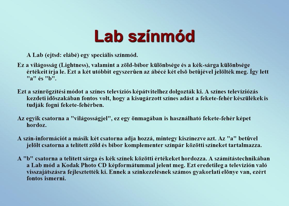 Lab színmód A Lab (ejtsd: elábé) egy speciális színmód.