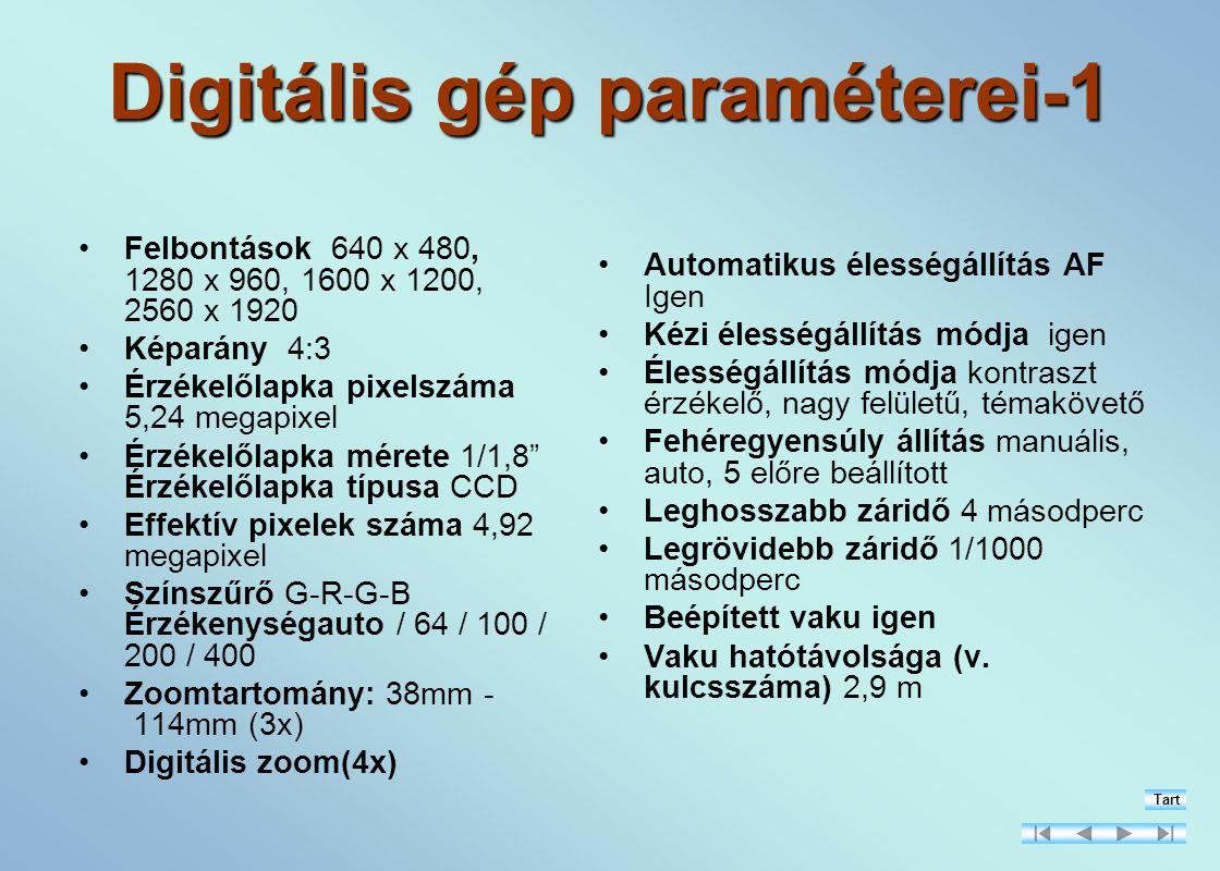 Digitális gép paraméterei-1