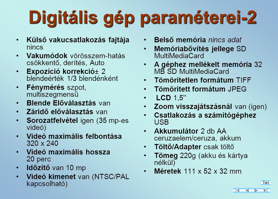 Digitális gép paraméterei-2