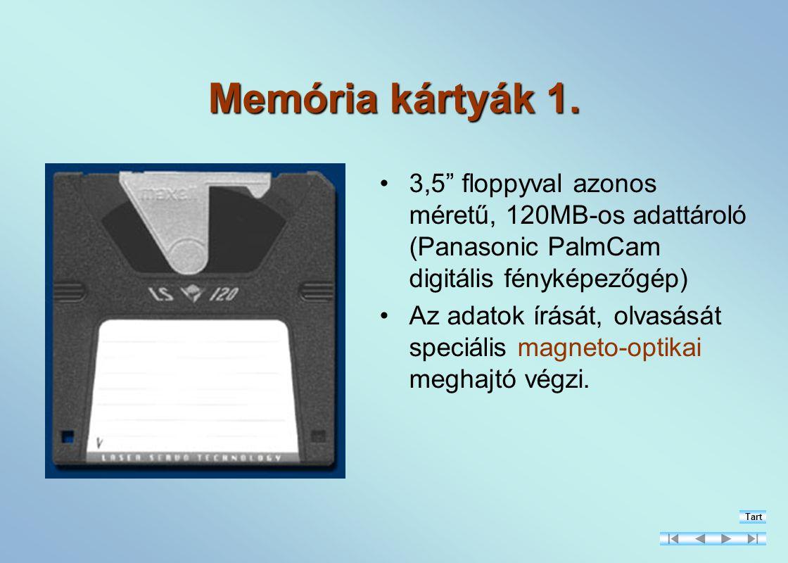 Memória kártyák 1. 3,5 floppyval azonos méretű, 120MB-os adattároló (Panasonic PalmCam digitális fényképezőgép)