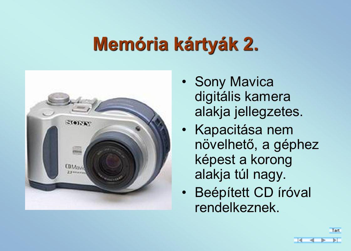 Memória kártyák 2. Sony Mavica digitális kamera alakja jellegzetes.